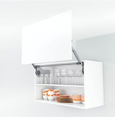 Functional cabinets for modern #kitchens: Wall cabinet with AVENTOS lift up for crockery
