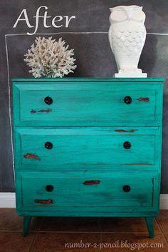 no. 2 pencil: Chippy Turquoise Dresser {Vintage Makeover} behr aqua waters + martha stewart metallic glaze in black coffee