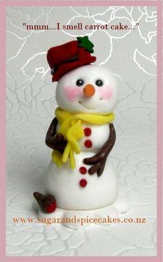 Snowman Christmas Cake Topper - fondant