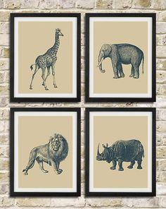 Safari Nursery Wall Art Prints - Elephant Giraffe Lion Rhinoceros African Animals - Children Room Home Decor set of 4 8x10. $38.00, via Etsy.
