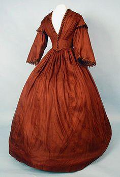 Dress: early 1850s, silk gauze. pre-civil war era fashion.