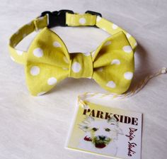Yellow and White Polka Dot Bow Tie Collar by parksidedesignstudio, $11.00