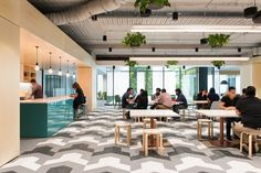 PEXA Offices - Melbourne. Breakout space. T point. Kitchen. Collaboration. Bolon. Exposed ceiling.