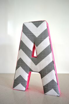 Wall Art - Personalised Fabric Letter A in Grey Chevron with Hot Pink Ribbon. $20.00, via Etsy.