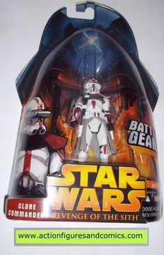 star wars action figures CLONE TROOPER COMMANDER red 33 2005 revenge of the sith hasbro toys moc mip mib