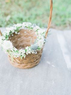 12 Flower Baskets Your Flower Girl Will Love ~ simple basket with thistle, wax flower and scabiosa adorning the rim: Cedarwood Weddings; Printed Bridesmaid Dresses, Bridesmaid Flowers, Brides And Bridesmaids, Wedding Flowers, Flower Girl Basket, Flower Baskets, Flower Girls, Flower Girl Gifts, Thistle Wedding