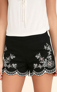 Lookout Point Black Embroidered Shorts via @bestchicfashion