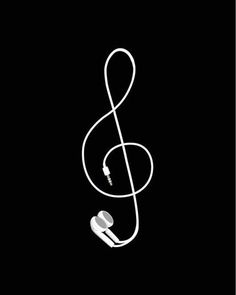 A treble clef made with headphones!