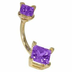 """14G 3/8"""" - Double Princess Cut Amethyst Solid 14K Yellow Gold Belly Ring - (February) FreshTrends. $170.99"""