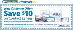 Save $10 on contact lenses at WalMart