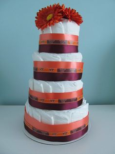 Virginia Tech Diaper Cake by PartyMePerfect on Etsy, $45.00