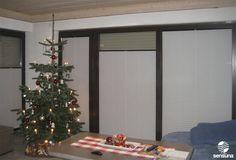 Wohnzimmer Plissees von sensuna® - Kundenfoto / sensuna® pleated blinds in the living room - customerphoto  #weihnachten #weiss #fensterdeko #sichtschutz
