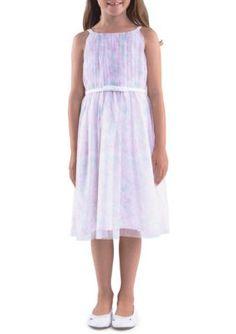 Us Angels  Sleeveless Shirred Bodice Floral Print Dress Girls 4-6X