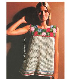 1970s Vintage Smock Top Crochet Pattern: Smock top has a yoke made of small granny squares forming a square neckline and a mesh body trimmed