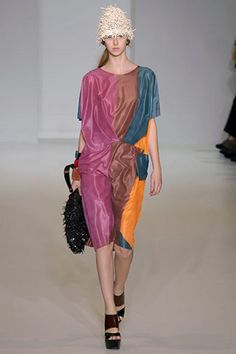 MARNI $990 abstract print colorblock raw edge SS08 pleated runway dress 40/4 NEW