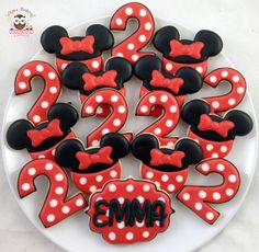 This listing includes 12 x custom cookies  6 x Minnie Mouse with bow cookies 6 x Number Cookies  All cookies can be customized and personalized to
