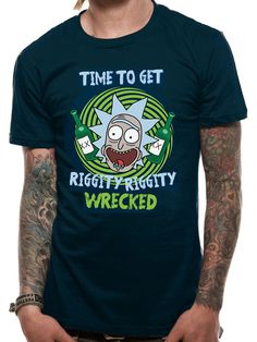 4f0854d17e43 Rick And Morty Riggity Riggity Wrecked Wubba Lubba Dub Official Blue Mens  Tshirt