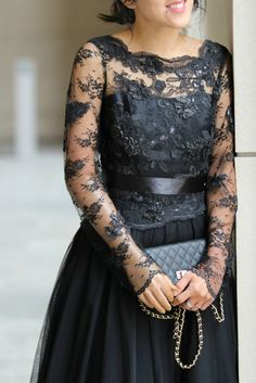 A night at The Nutcracker Ballet Grand Rapids - Black lace and tulle ball gown #BlackBallgown
