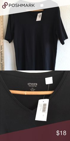 Chico's true color blk t shirt top cotton 1 one ☝️ Size one Chicos T-shirt Chico's Tops Tees - Short Sleeve