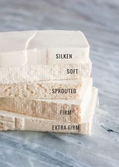 Types of Tofu. Be sute the tofu you use is vegan. Check the labels! Whole Food Recipes, Cooking Recipes, Healthy Recipes, Cooking Tips, Firm Tofu Recipes, Silken Tofu Recipes, Vegan Tofu Recipes, Cooking Ham, Cooking Quotes