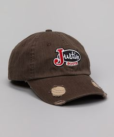 Justin Boots 174 Brown Oilcloth With Embroidered Logo Cap