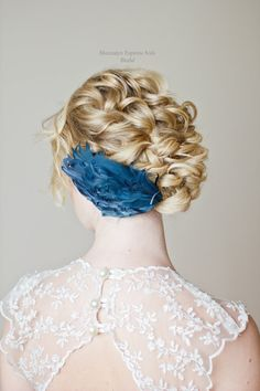 Love the contrast of the blue hair piece, and the blonde hair! Something Blue Feather Hair Piece Bridal by SheenaEspirituSolis, $30.00