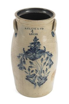 Four-Gallon Stoneware Churn, impressed N. Clark & Co. Lyons, with cobalt floral decoration.