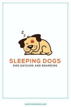 Sleeping Napping Dog Logo Branding Design | Doggie Doggy Daycare Boarding | Dog Walker | Pet Sitter Logo | Dog Sitter Logo | Graphic Design | Illustrated Resting Puppy Dog