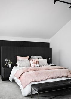 Ronnie and Georgia were big fans of this blush pink as seen in their master suite. For more trends seen on The Block, click the link. Photo: Tess Kelly / The Block magazine Home Decor Styles, Cheap Home Decor, Bed In Living Room, Modern Bedroom Design, Modern Decor, Trends, Bedroom Styles, Apartment Interior, Home Decor Bedroom