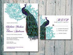 Set of 100  Teal Vintage Peacock and Flower by WeddingSundaeShop @isk8ermom