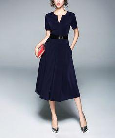 Another great find on #zulily! Navy Belt-Accent A-Line Dress #zulilyfinds