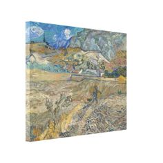 Enclosed Wheat Field with Peasant by Vincent Van Gogh #Canvas #Print - High #resolution #art #printed on #gloss canvas #wrapped on #wooden #stretcher #frame - #VanGogh #hires #landscape #painting
