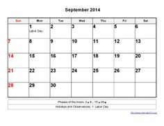 Printable Calendar 2014 September Templates