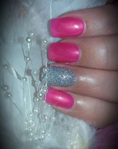 #42 Pretty In Pink: Acrylic nails with pink polish and silver hologram glitter dipping accents. (Nails Essentials, Dyersburg, TN)