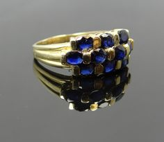 Vintage Yellow Gold Three Row Navy Blue Sapphire Band 428415-P
