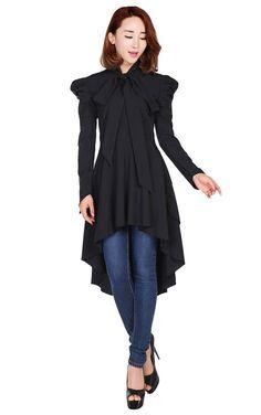 Chic Star Long Sleeve Victorian Romance Black Top (UK10)