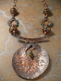 Copper, Wire Wrapped Conponents, Copper chain,Lampwork Glass Beads, and Czech Glass statement necklace with texturing Copper Necklace, Metal Necklaces, Copper Jewelry, Wire Jewelry, Pendant Jewelry, Jewelry Art, Jewelry Design, Copper Wire, Jewellery