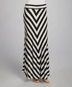 Look what I found on #zulily! Black & White Stripe Maxi Skirt - Women by Nouvelle #zulilyfinds