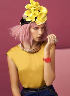 Pink hair, wispy, yellow hairpiece http://au.cloudninehair.com/