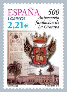 Sello 500 Aniversario Fundación de La Orotava. Tenerife, Islas Canarias.