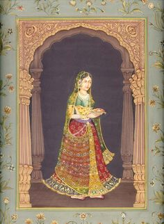 The Light Leads But Let a Protective Hand Guard It, Mughal Miniature Painting on Paper Mughal Miniature Paintings, Mughal Paintings, Indian Art Paintings, Indian Artwork, Rajasthani Painting, Madhubani Painting, India Art, Krishna Art, Traditional Paintings