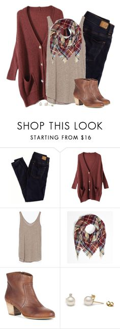 """Oversized rust cardigan & plaid blanket scarf"" by steffiestaffie ❤ liked on Polyvore featuring American Eagle Outfitters, Zara and Sole Society"
