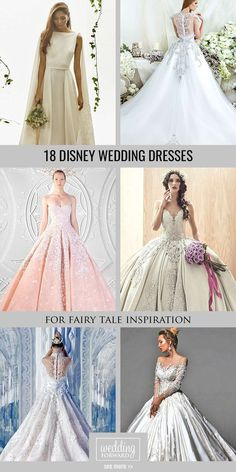 18 Disney Wedding Dresses For Fairy Tale Inspiration ❤ We propose you to see disney wedding dresses which reflect the style and beauty main heroines such as Cinderella, Tiana, Belle. See more: www.weddingforwar... #weddings #dress #disney