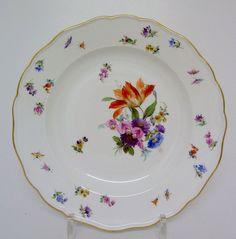 Teller Meissen, Blume 3, Streublumen und Insekten, 1.Wahl, D=24,5cm #1 in Antiquitäten & Kunst, Porzellan & Keramik, Porzellan | eBay