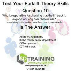 Forklift question of the day 10 from http://ift.tt/1HvuLik #forklift #training #safety #jobsearch