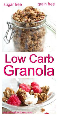Low Carb Granola (Keto, Sugar Free) A low carb granola that will satisfy any cereal craving! This sugar free, grain free granola is a nutrient-packed breakfast that will set you up for the day. Keto and gluten free! Low Carb Low Calorie, Low Carb Keto, Low Carb Recipes, Diet Recipes, Jelly Recipes, Primal Recipes, Supper Recipes, Flour Recipes, Pork Recipes
