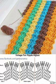 Vintage Fan Ripple Afghan crochet deken haken