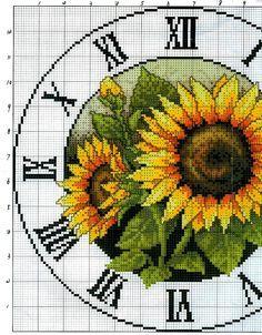 Schemi a punto croce gratuiti per tutti: Schemi punto croce orologi da parete con rose,girasoli e frutta