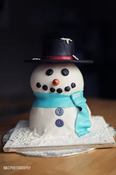 Snowman Cake - Gallant Snowman, with a fine top hat.  First upright cake I've done.  So nervewracking! ;)