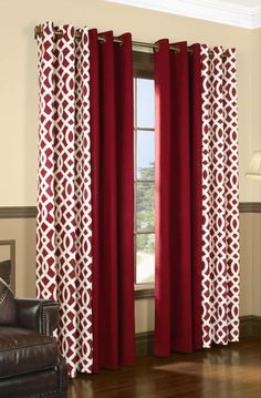 New living room red curtains patterns Ideas Red Curtains Living Room, Brown Curtains, Home Curtains, Living Room White, Living Room Windows, White Rooms, Living Room Paint, Curtains With Blinds, New Living Room